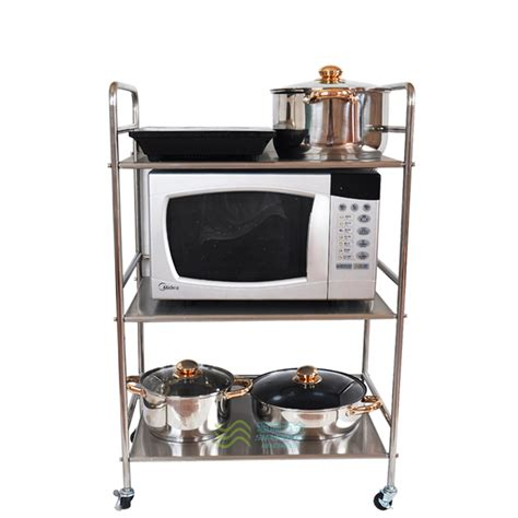 Microwave Oven With Metal Rack by Stainless Steel Three Layer Rack Microwave Oven Shelf Cart