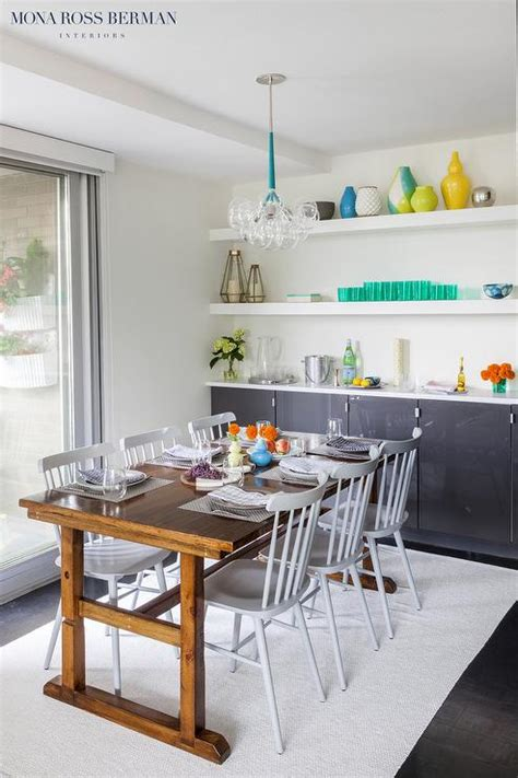 Glossy Charcoal Gray Dining Room Cabinets   Contemporary
