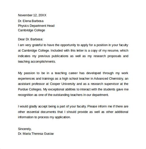 Cover Letter Faculty Position by Cover Letter Templates 9 Free Documents In Word Pdf