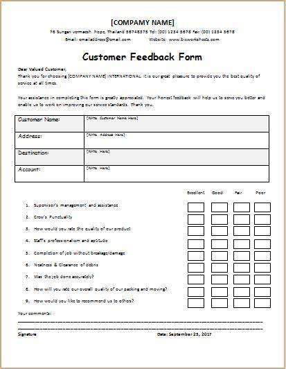 customer feedback form templates microsoft word excel templates