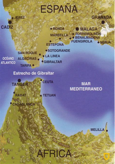 strait of gibraltar map the world in postcards sabine s map of the strait of gibraltar