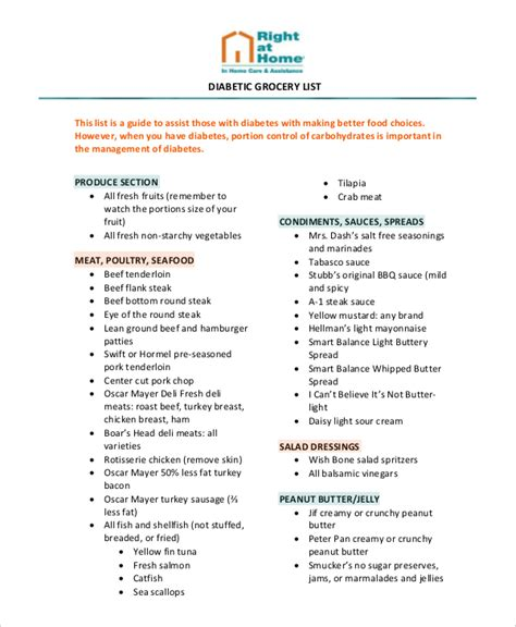 printable diabetic grocery shopping list grocery list template 13 free pdf psd documents