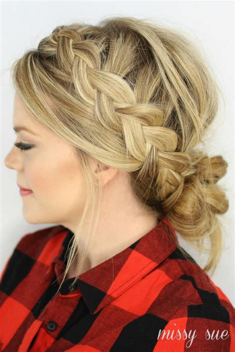 braid bun with a bang dutch braids and low messy bun this messy bun is to