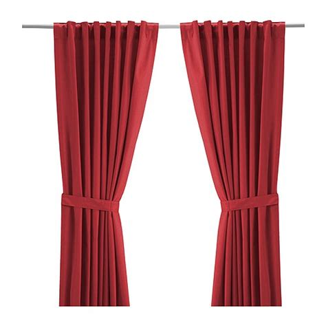 red curtains ikea ritva curtains with tie backs 1 pair 57x118 quot ikea