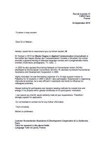 Presentation D Une Lettre En Anglais exemple lettre de recommandation d un professeur anglais exemples de cv