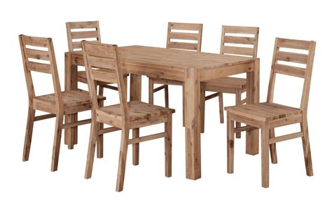 Wooden Dining Table And 6 Chairs Solid Acacia Wooden Dining Table And 6 Chairs Homegenies
