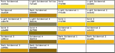 rgb color chart gold color colors and color charts