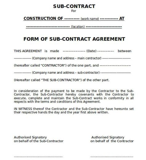 concrete construction contract template templates