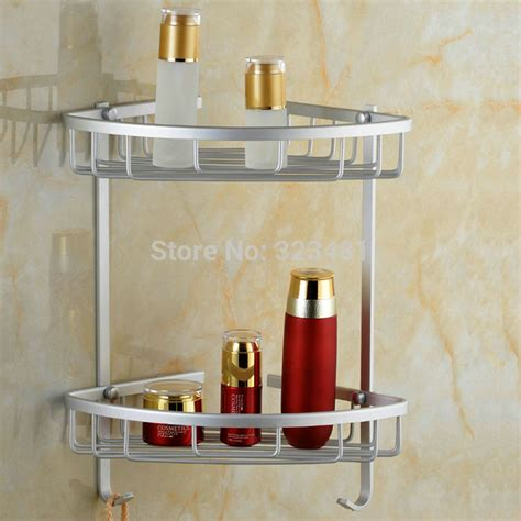 Aluminium Dual Tier Bathroom Basket Corner Shelf Rack Hook Basket Shelves For Bathroom
