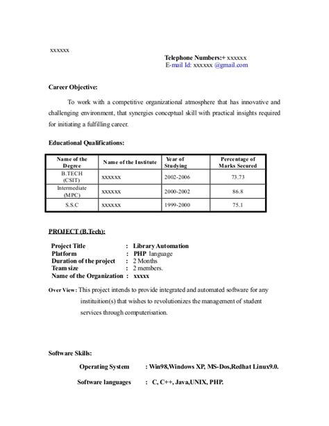 Resume Writing Exles For Freshers Fresher Resume Sle13 By Babasab Patil
