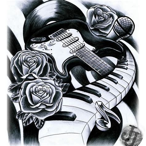 guitar music tattoo designs 10 superb keyboard designs