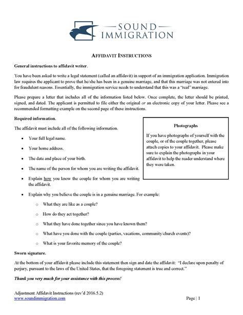Affidavit Instructions For Marriage Based Applications Sound Immigration Affidavit Template For Immigration