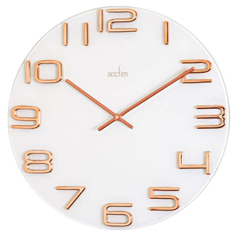 Ac 2465 Rosegold White white glass wall clock with gold accents