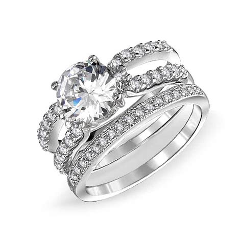 925 silver cz band engagement wedding ring set