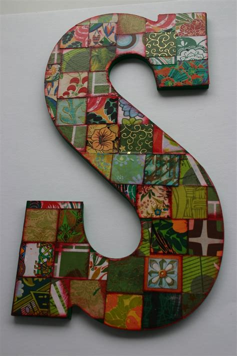 How To Decoupage Wooden Letters - large decoupage wood letter s collaged letter 10 5