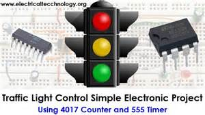 traffic light control electronic project using 4017 amp 555