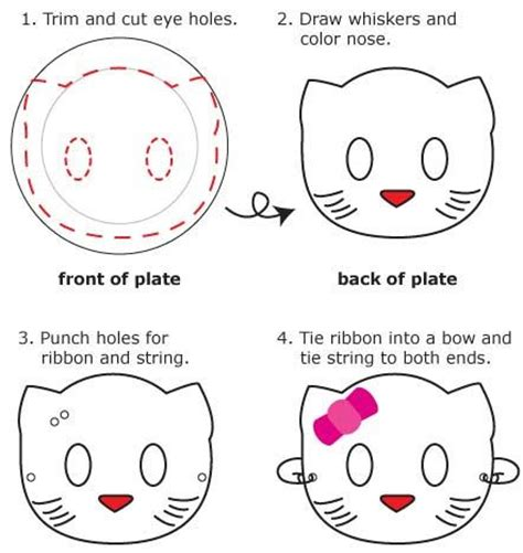 instructions for how to make a hello kitty mask out of a