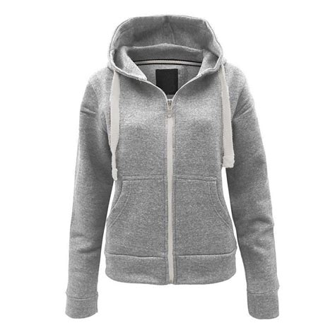 Zipper Plain Hoodie plain styles fleece hoodies womens zipper