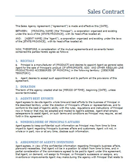 sales contract template format template