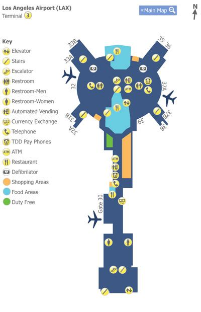 map los angeles lax los angeles airport lax terminal 3 map map of terminal