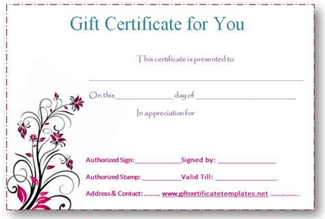 printable voucher gift pink flower gift certificate template beautiful