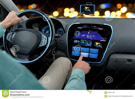 Auto Computer by Up Of Driving Car With Navigation System Stock
