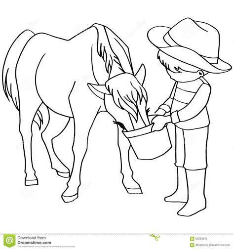 coloring book vector coloring book child feeding horses vector stock vector
