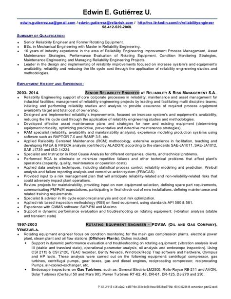 reliability engineer sle resume uxhandy