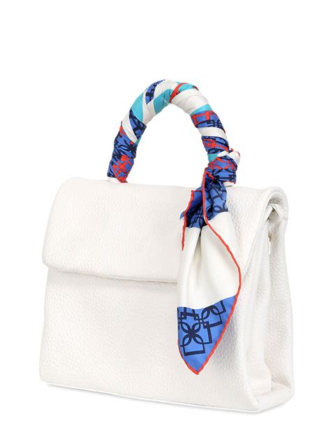 desmo diana leather top handle bag with scarf in white lyst