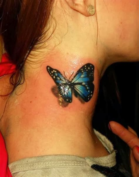 butterfly tattoo on the neck 3d blue butterfly tattoo on side neck tattooshunt com