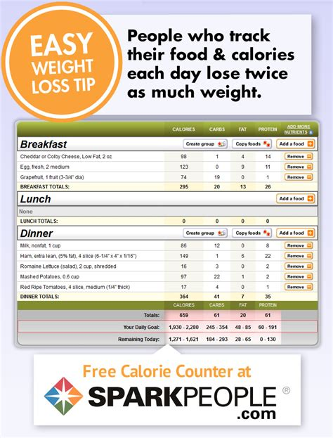 printable food journal calorie counter free calorie counter sparkpeople