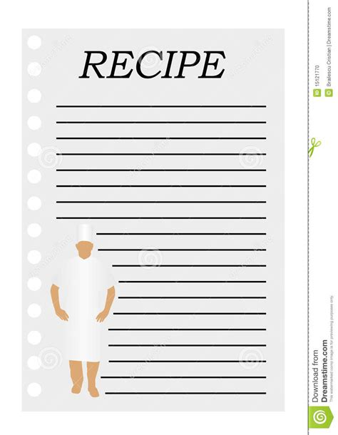 Paper Recipe - illustration of a paper with text for a recipe stock