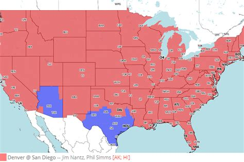 san diego chargers tv broadcast tv broadcast map denver broncos vs san diego chargers