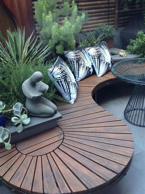 25 best ideas about outdoor seating on diy patio benches and garden seating the 25 best curved outdoor benches ideas on garden features garden bench and