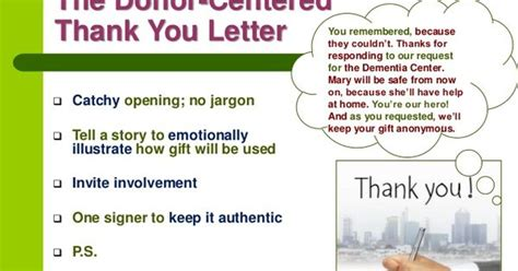 Thank You Letter Opening The Donor Centered Thank You Letter Catchy Opening No Jargon Tell A Story To Emotionally