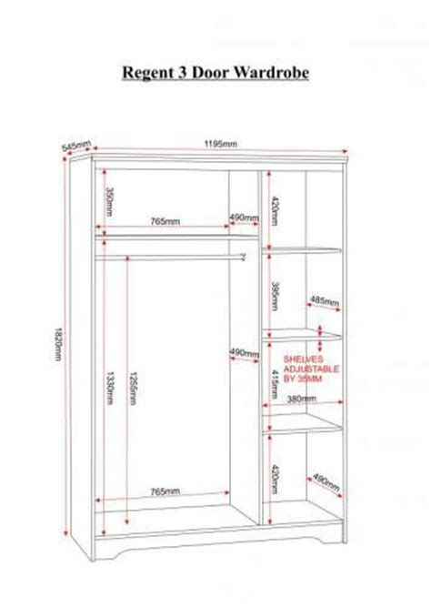 Wardrobe Closet Dimensions by Regent 3 Door Wardrobe Wardrobes