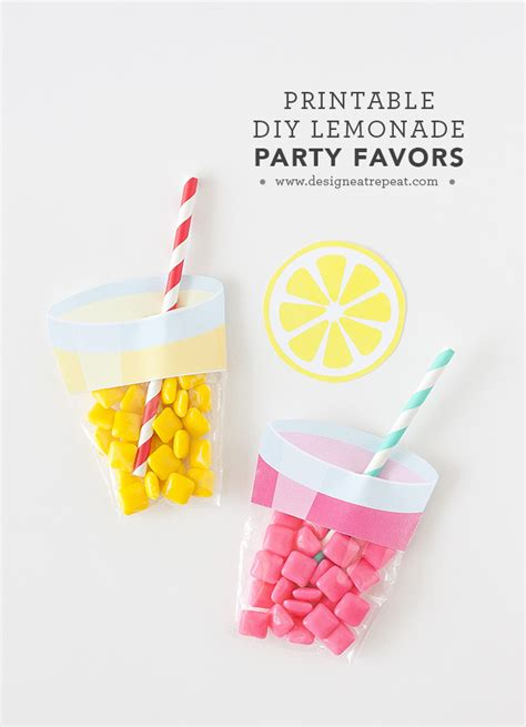 printable birthday favors printable summer lemonade party favors printable decor