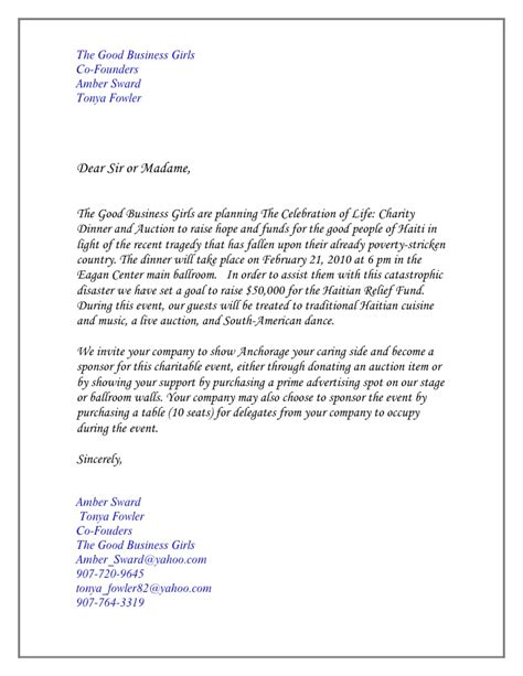 charity dinner invitation letter letter of invitation