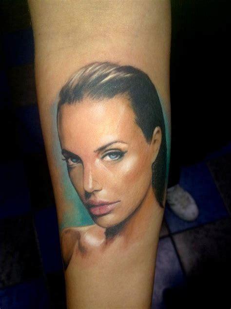 angelina jolie face tattoo flawless angelina jolie color portrait adam kremer tattoo