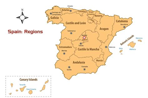 spain three cities spain regions map and guide