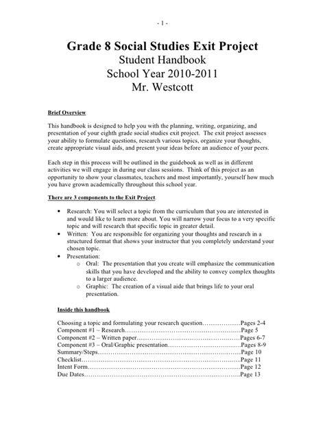 Science Fair Research Paper Ideas by Grade 8 Social Studies Exit Project