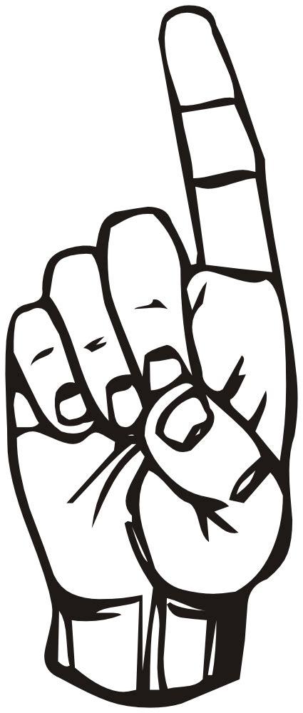 OnlineLabels Clip Art - Sign language D, finger pointing