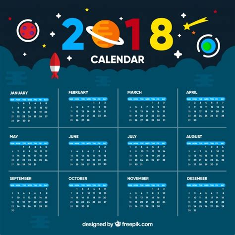 free eps format editor universe 2018 calendar template vector free download