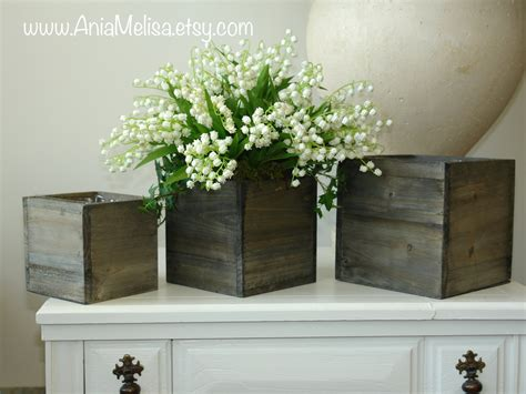 Woodland Planter by Wood Boxes Woodland Planter Flower Box Rustic Barn Square Pot