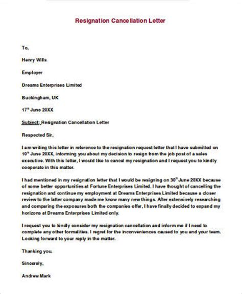 Cancellation Letter Uk Exle Of Letter Of Resignation 9 Sles In Word Pdf