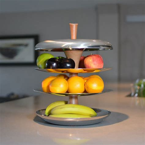 modern fruit tiered fruit bowl ceramic and stainless steel fruit tier