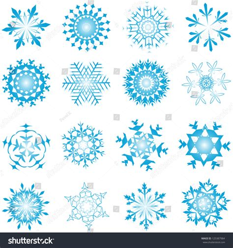 set winter frozen snowflakes fully editable stock vector