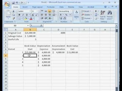 How To Calculate Straight Line Depreciation In Excel Youtube Line Depreciation Schedule Excel Template