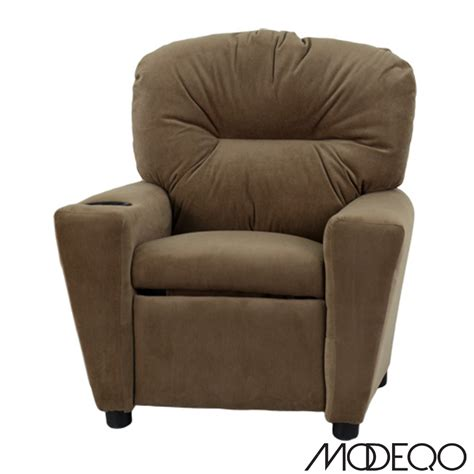 recliner with cup holder brown microfiber kids recliner with cup holder