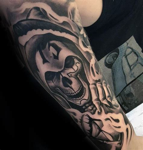 new school reaper tattoo new school style black and white forearm tattoo of grim